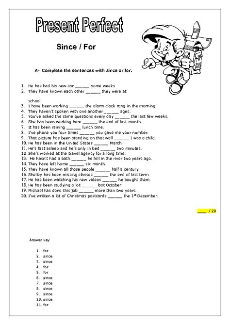 present perfect with for and since busy teacher