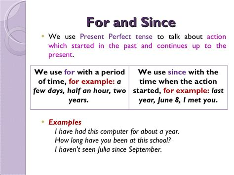 present perfect with for and since powerpoint