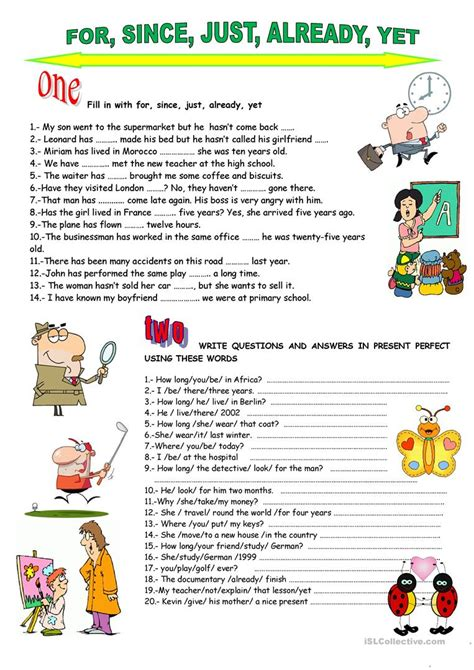 present perfect yet already just worksheet