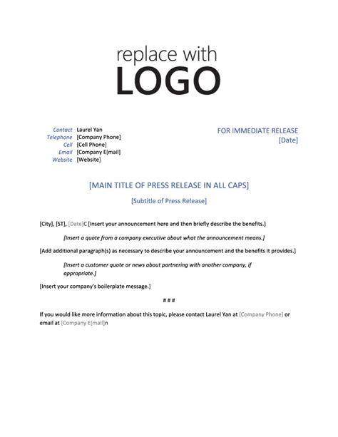 press release cover letter example