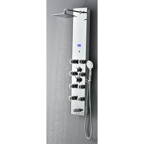 Pressure Balanced Rain Multi-Function Shower Tower Panel Massage System with Handheld Includes Rough-In Valve