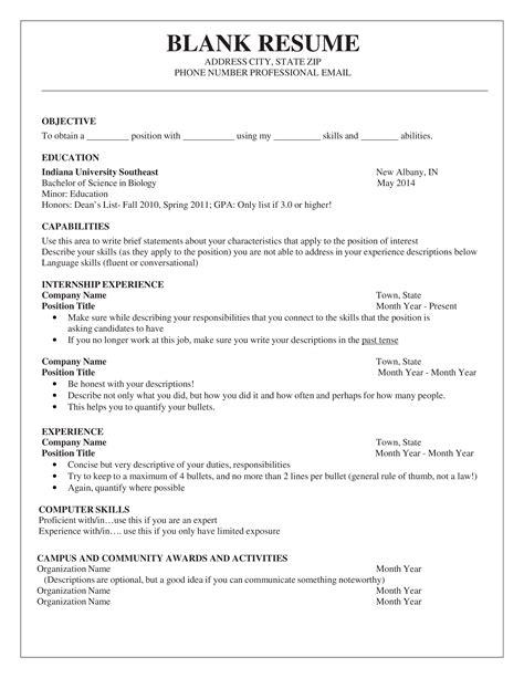 printable blank resume free blank resume template professional resume example - Free Blank Resume