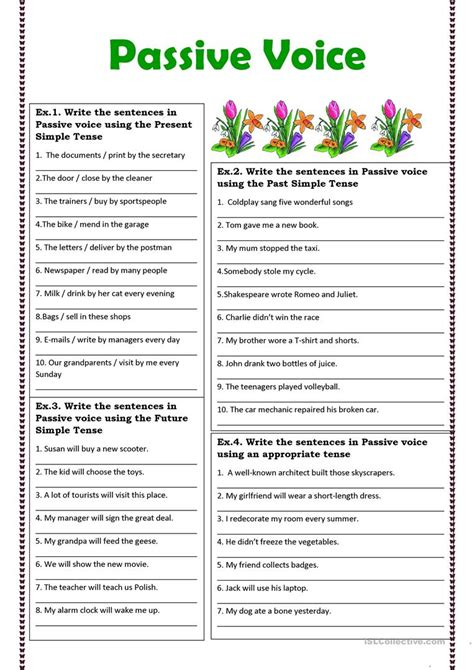 printable passive voice exercises with answers