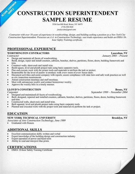 Printable Sample Resume For Construction Worker Construction Resume Template 9 Free Samples Examples