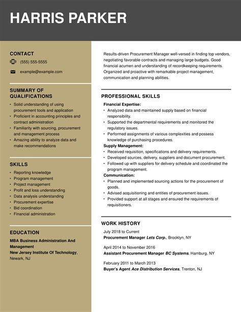 procurement resume sample resume samples free sample resume examples - Procurement Resume
