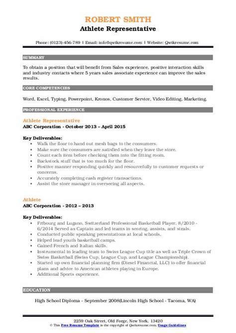 professional athlete resume example sales representative resume example