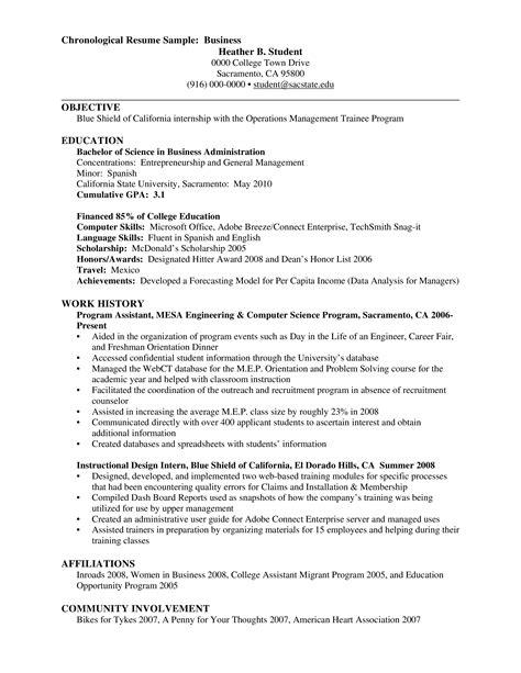 Professional Chronological Resume Sample   Bad Credit No Paperwork Loans