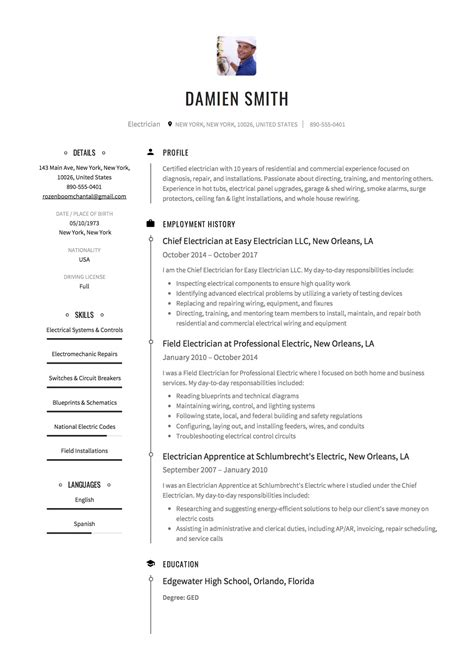 professional electrician resume template cv template free professional resume templates word