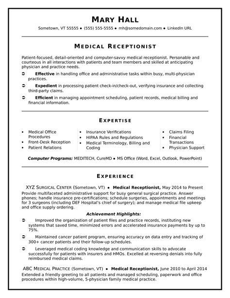professional medical secretary resume secretary resume sample resume for secretary