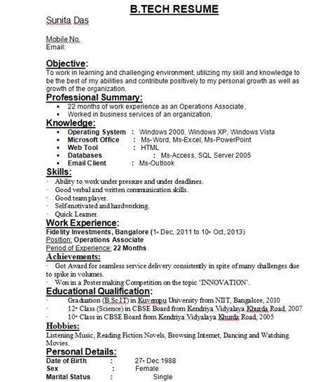 Professional Resume Format For Freshers Pdf B Tech Freshers Resume Format Blogspot