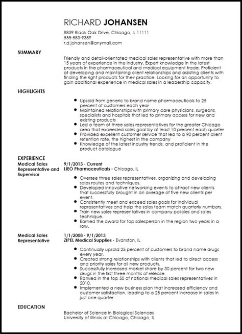 professional resume of medical representative medical sales representative resume sample resume