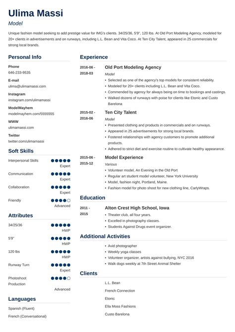 Professional Resume Model Model Resume Samples To Showcase Your Talents