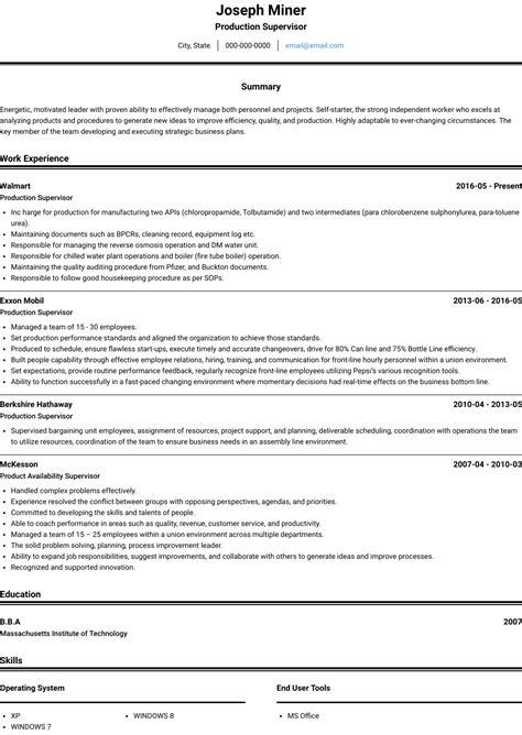 professional resume writer ladders production supervisor resume sample  resume writing service