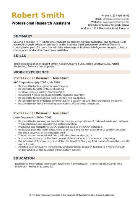 Professional Resume Research Assistant Research Assistant Resume Example Sample
