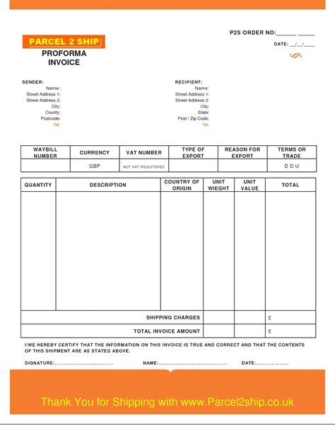 Proforma Invoice Blank Form Blank Invoice Template 7 Sample Invoices To Download Free