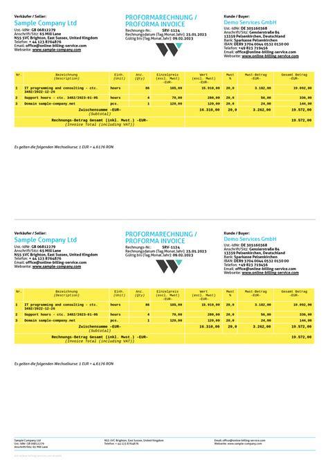 proforma invoice german | resume car model, Invoice examples