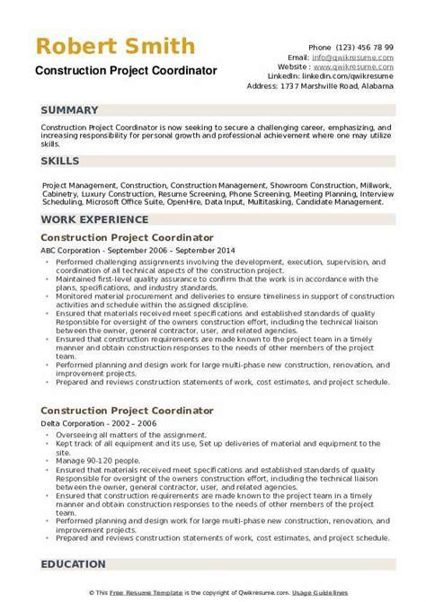 project coordinator resume sample construction sample construction resume 5 documents in pdf word