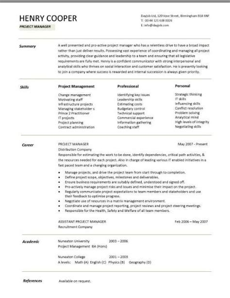 cv template project manager   intensive care nurse resume templatecv template project manager project manager cv template resume dayjob