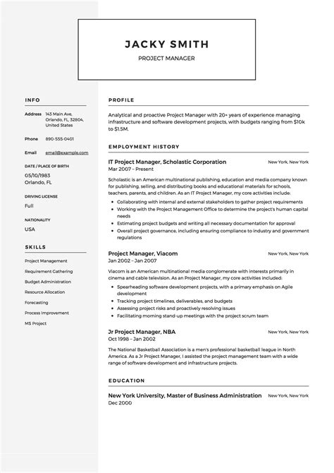 Project Manager On Resume Experienced It Project Manager Resume Sample Monster