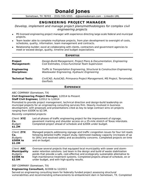 project manager resume sample construction project engineer sample resume career faqs - Construction Project Manager Sample Resume
