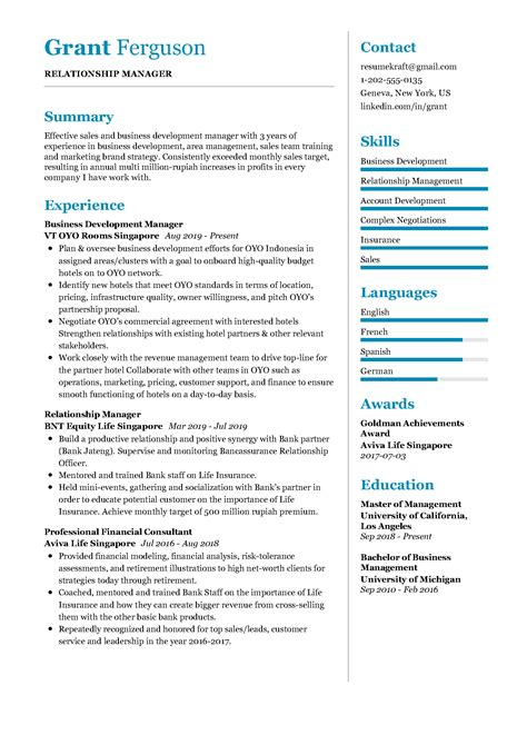 project manager resume for bank relationship manager resume sample