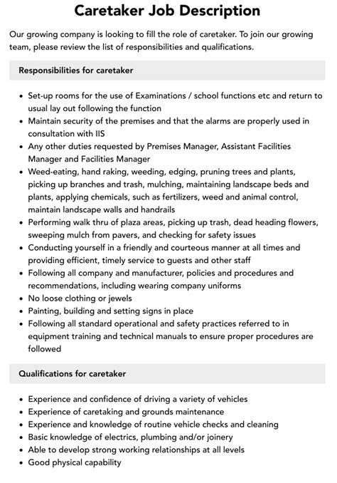 sample resume building caretaker property caretaker job description duties and requirements