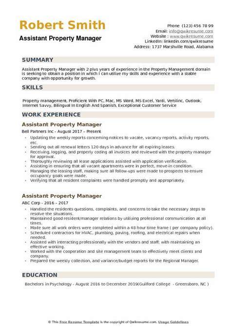 property manager resume job description assistant manager resume sample job interview career guide - Assistant Property Manager Job Description