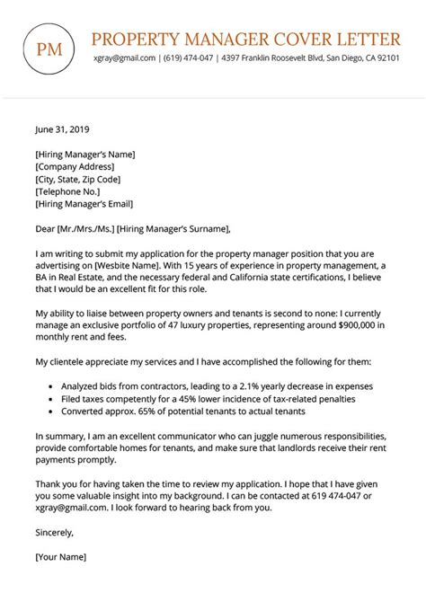 apartment manager cover letter