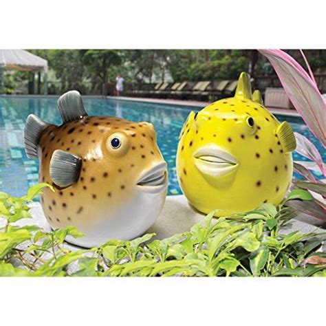 Pudgy Pond Pufferfish Statue (Set of 2)