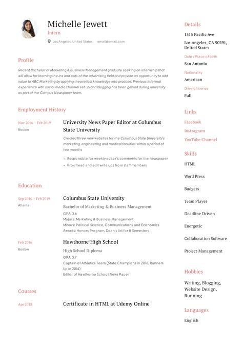 internship experience in resumes