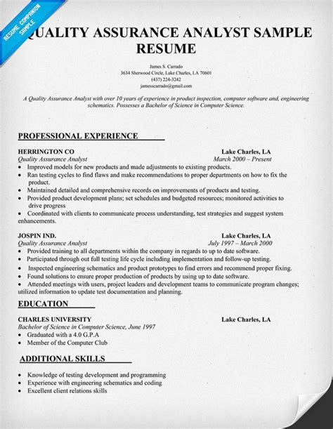 sample resume testing experience qa analyst resume sample quality assurance analyst resume - Test Analyst Sample Resume