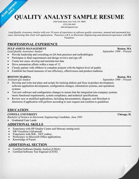 sample resume of quality analyst in bpo qa analyst resumes indeed resume search