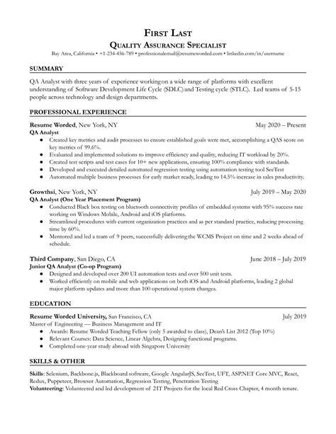 sample qa analyst resumes