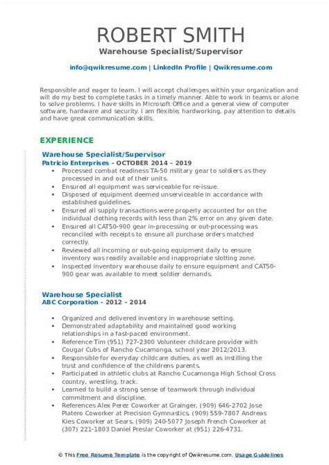 quality control specialist resume sample warehouse specialist resume sample one logistics resume administration - Quality Control Administration Sample Resume
