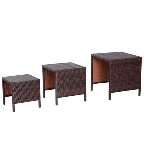 Rattan 2 Piece Nesting Tables