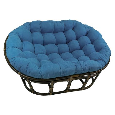 Rattan Double Papasan Chair with Micro Suede Cushion