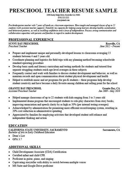 readymade resume for teachers sample resume preschool teacher resume exforsys readymade resume for teachers sample resume - Preschool Teacher Sample Resume