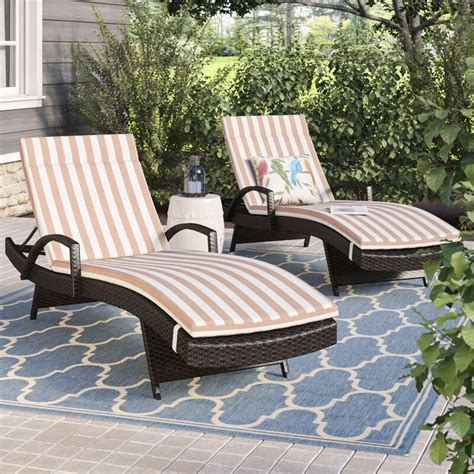 Rebello Reclining Chaise Lounge with Cushion (Set of 2)