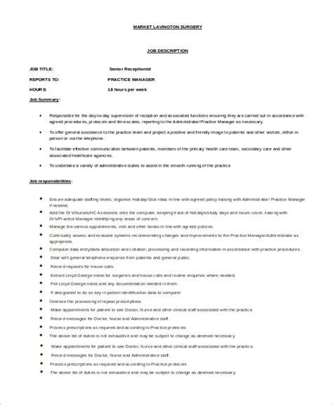 receptionist job description in resume receptionist job description salary - Receptionist Job Description Resume