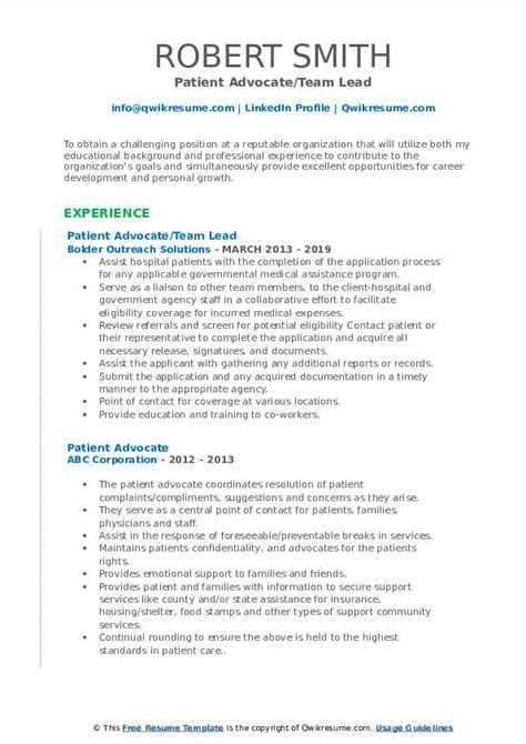 patient advocate resume professional resume format for advocate