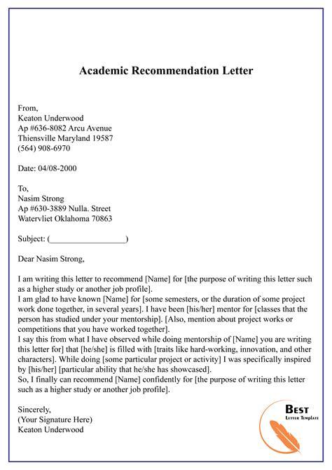 Recommendation Letter Academic Sample Academic Recommendation Letter Sample