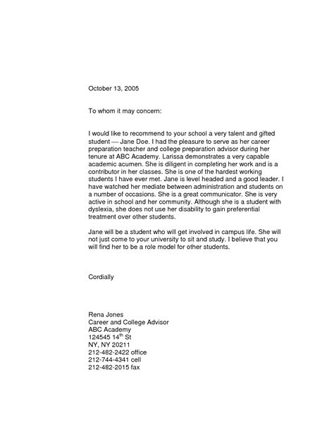 Recommendation Letter Of Student By Teacher Sample Recommendation Letter From Teacher