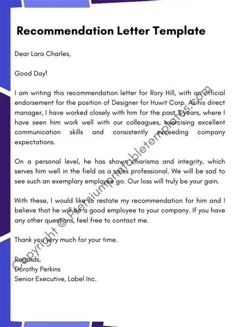 Godparent Certificate Template Free Recommendation Letter Sample