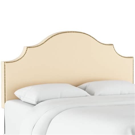 Rector Nail Button Notched Duck Upholstered Panel Headboard