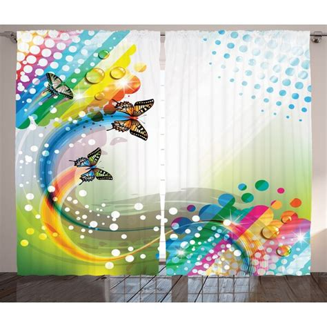 Reece Colorful Home Trippy Flying Butterflies with Color Comet Bubbles Creative Fantasy Design Graphic Print & Text Semi-Sheer Rod Pocket Curtain Panels (Set of 2 by