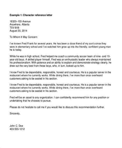 Reference For Friend Job Character Reference Letters For Friend Relative