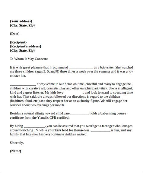 Reference Letter For Babysitter Sample Babysitter Proof Of Income Letter Sample
