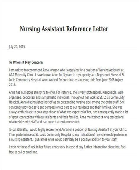 Reference Letter For Cna Student Nursing Assistant Reference Letter Sample