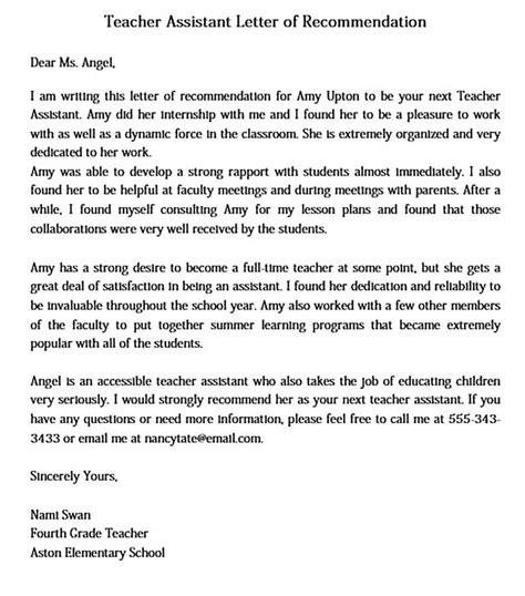 Reference Letter Teacher Assistant Sample Teacher Assistant Recommendation Letter O Great