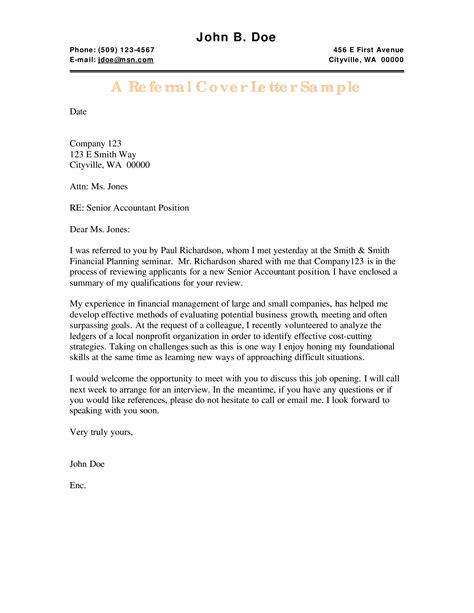 Referral Cover Letter Samples Cover Letter Referral From Friend - Referral cover letter samples